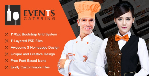 Events Catering - Photoshop UI Templates