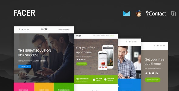 FACER - Responsive E-mail Templates set + Online Access  - Email Templates Marketing