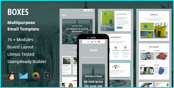 Boxes - Multipurpose Creative Responsive Email Template + Stampready Builder - Newsletters Email Templates