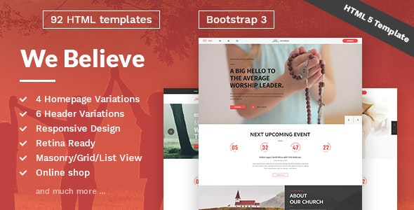 WeBelieve - Church, Charity, Nonprofit & Fundraising Responsive HTML5 Template - Churches Nonprofit