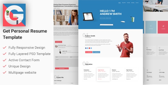 GET | Personal CV/Resume Template - Resume / CV Specialty Pages