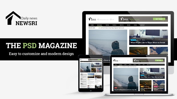 Newsri - Magazine PSD Template - Photoshop UI Templates