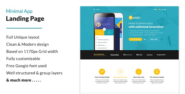 Minimal App Landing Page - Technology Photoshop