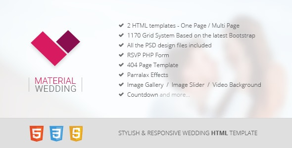 Material Wedding - Clean and Beautiful HTML Template - Wedding Site Templates