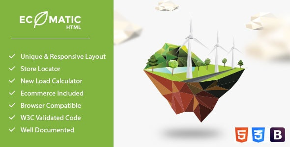 Ecomatic - Responsive HTML Template for Renewable Energy Businesses - Environmental Nonprofit