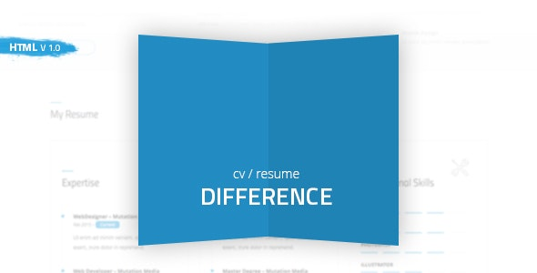 Difference - CV/RESUME TEMPLATE - Resume / CV Specialty Pages