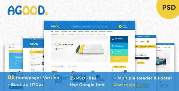 Agood - Multi-Purpose eCommerce PSD Template - Retail Photoshop