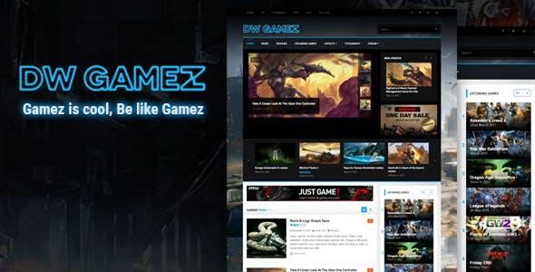 dw gamez blog oyun wordpress teması