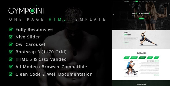 GymPoint | One Page Responsive HTML5 Template - Health & Beauty Retail
