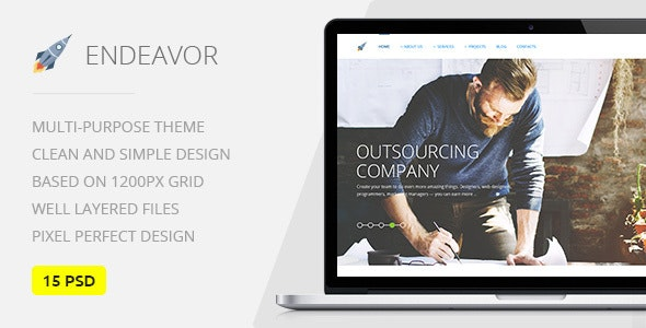 Endeavor — Multipurpose IT & Digital Company PSD Template - Business Corporate