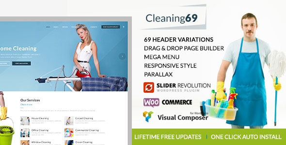 Cleaning69 - WordPress theme for House Cleaning Company - Business Corporate