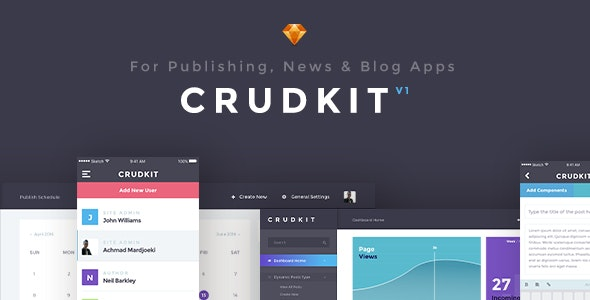 CrudKit - Publishing/News/Blog Interface  - Sketch Templates