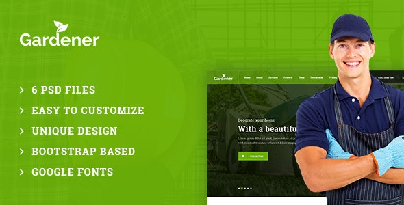 Gardener – Gardening and Landscaping PSD Template - Business Corporate