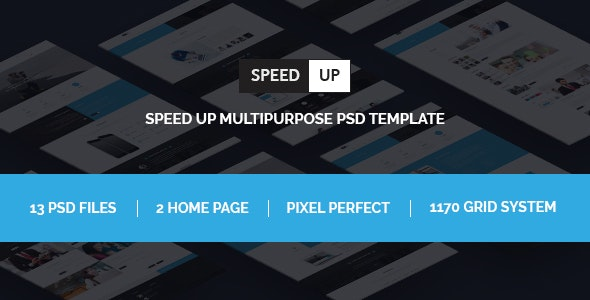 Speed Up Multipurpose bootstrap psd template - Corporate PSD Templates
