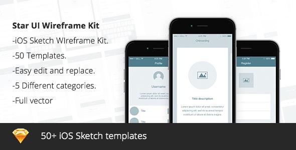 Star UI - Wireframe Sketch Kit v1 - Sketch UI Templates