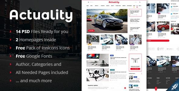Actuality - Powerful Blog & Magazine PSD Template - Photoshop UI Templates