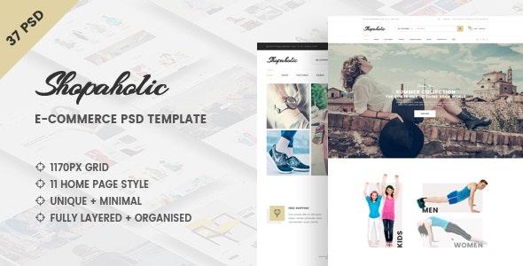 Shopaholic - Clean e-Commerce PSD Template - Retail Photoshop