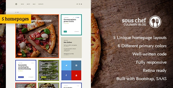 Sous Chef — Recipe, Culinary, Cooking  template for blog/website - Food Retail