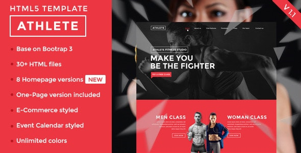 Athlete - Fitness, Gym and Sport HTML template - Retail Site Templates