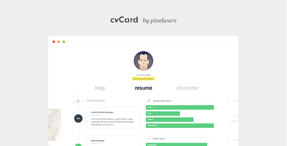 cvCard - Responsive Resume Template - Virtual Business Card Personal