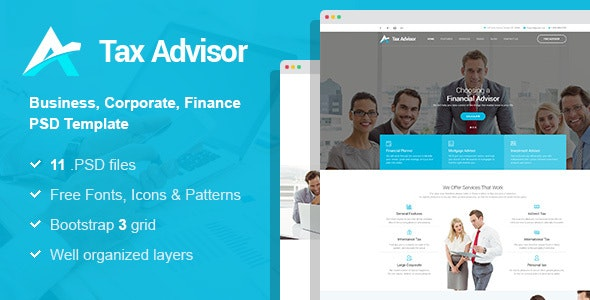 Tax Adviser - Financial Consulting/Attorney PSD Template - Business Corporate