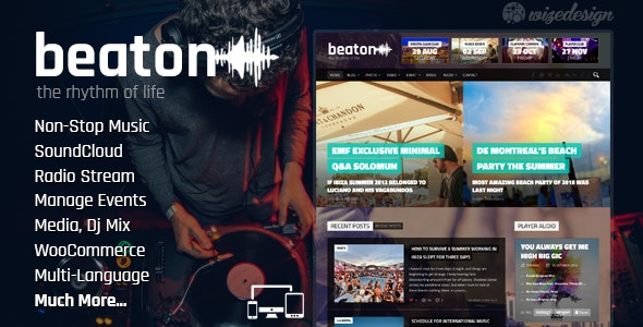 Beaton - Music, Radio & Events WordPress Theme - Music and Bands Entertainment