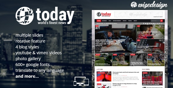 Today - News & Magazine WordPress Theme - News / Editorial Blog / Magazine