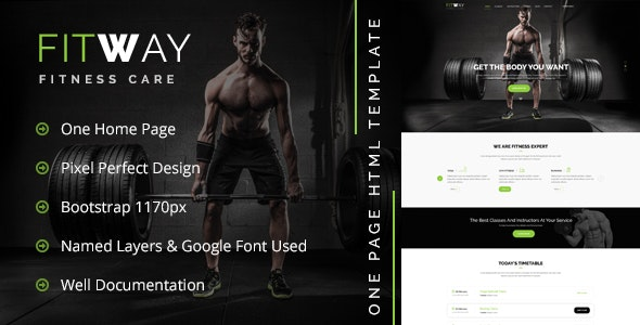 FITWAY - Gym & Fitness Psd Template - Retail Photoshop