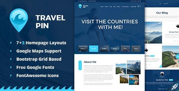 Travel Pin - PSD Template - Photoshop UI Templates