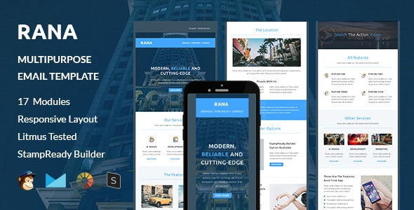 RANA - Multipurpose Responsive Email Template + Stampready Builder - Newsletters Email Templates