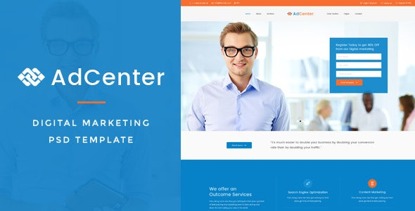 Adcenter - Digital Marketing PSD Template - Marketing Corporate