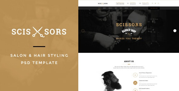 Scissors : Salon & Hair Styling PSD Template - Business Corporate