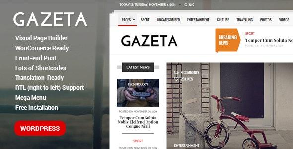 Gazeta - Responsive Magazine WordPress Theme - News / Editorial Blog / Magazine