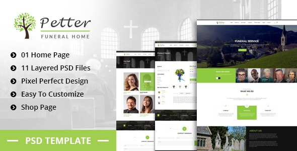 Petter - Funeral Service PSD Template - Corporate Photoshop