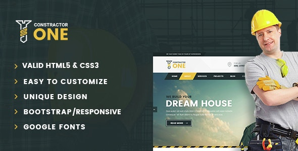 Constractor One - Construction & Home Renovation HTML5 Template - Business Corporate