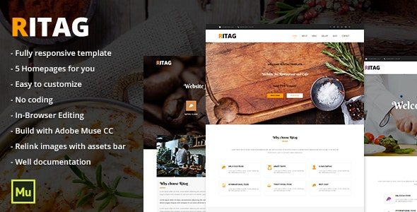 Ritag - Responsive Food & Restaurant Template - Miscellaneous Muse Templates