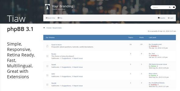 Tiaw - Classic Responsive phpBB 3.1 Theme - PhpBB Forums