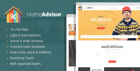 Home advisor - Appliance Repair PSD template