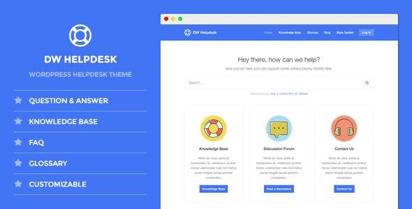 DW Helpdesk - Knowledge Base / Q&A / FAQ WordPress Theme - Miscellaneous WordPress
