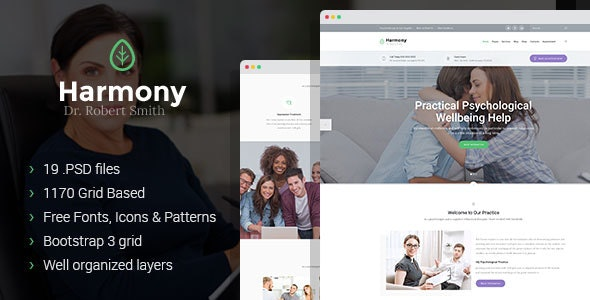Harmony - psychologist and psychotherapist PSD theme - Health & Beauty Retail