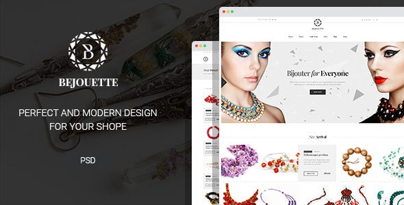 Bejouette - Handmade Jewelry Designer PSD Template - Retail Photoshop