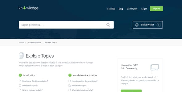 Knowledge - Knowledgebase & Documentation Template
