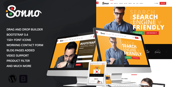 Sonno - Startup Marketing Landing Page WP Theme - Marketing Corporate