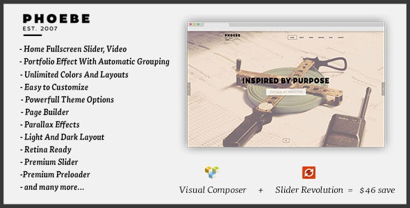 Phoebe - One Page Responsive WordPress Theme. - Portfolio Creative
