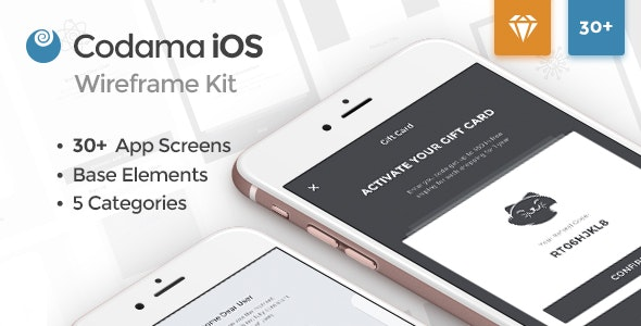 Codama iOS Wireframe UI Kit - Sketch Templates