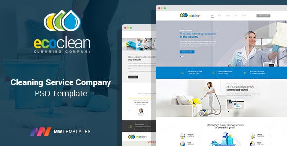 EcoClean - maids company PSD Template - Business Corporate