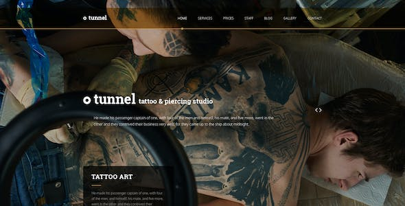 Tunnel — Modern Tattoo and Piercing Studio PSD Template