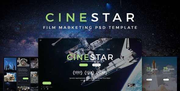 CINESTAR - Film Marketing PSD Template - Film & TV Entertainment