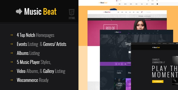 MusicBeat Musicians & DJ's Music Band Html Template - Music and Bands Entertainment