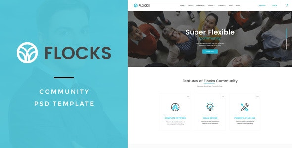 Flocks : Social Community PSD Template - Miscellaneous Photoshop